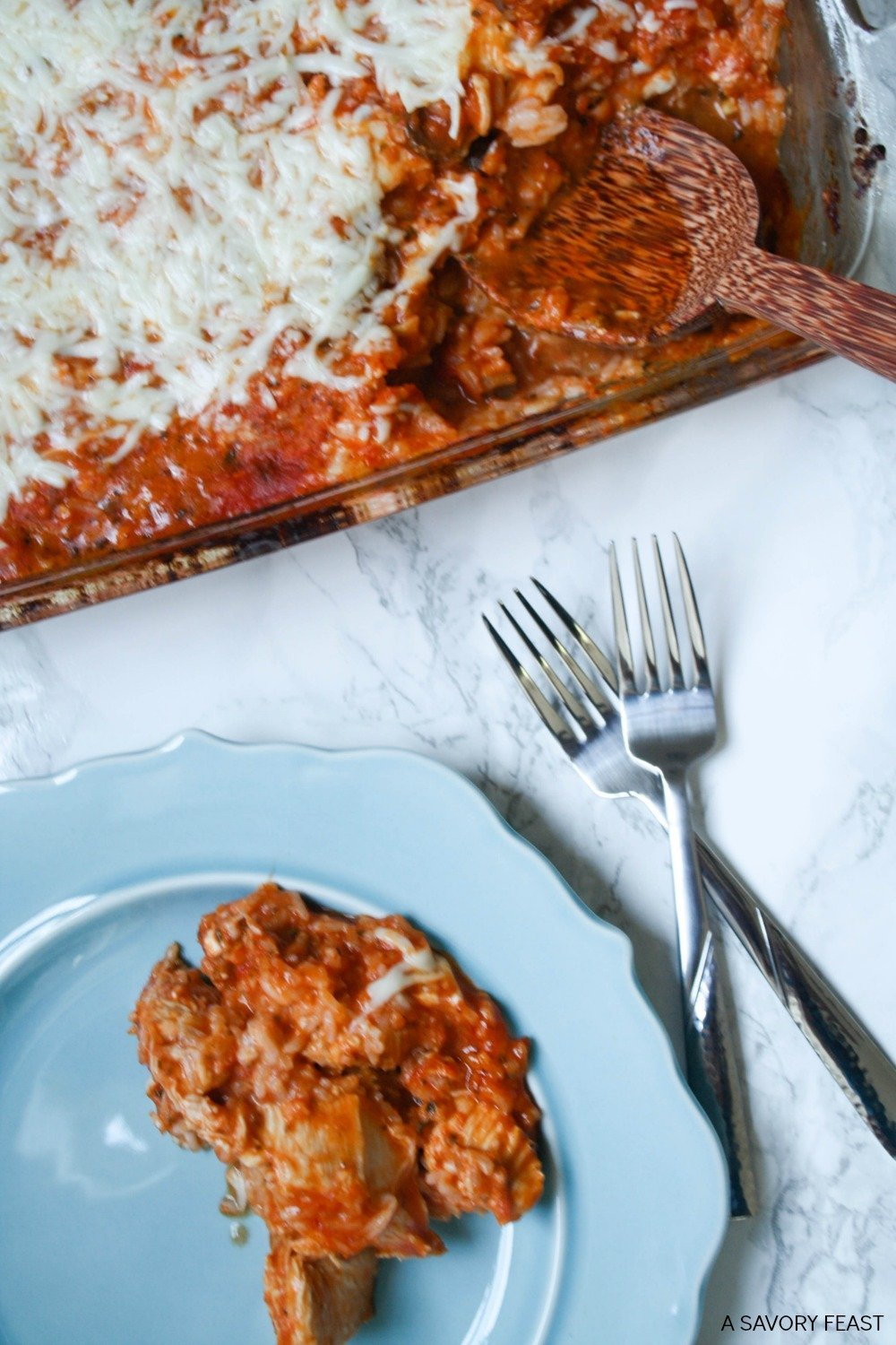 This one dish meal is great for a busy night! Chicken, tomato sauce, pesto, goat cheese and mozzarella cheese combine for a flavorful Italian casserole.
