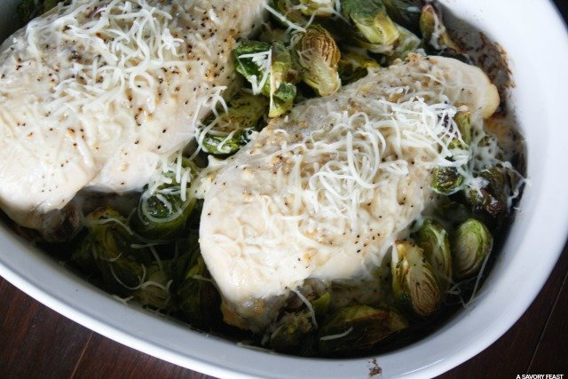 Here's a simple idea for dinner tonight. This Baked Garlic Butter Chicken with Brussels Sprouts is easy to prep. A healthy, balanced dinner idea!