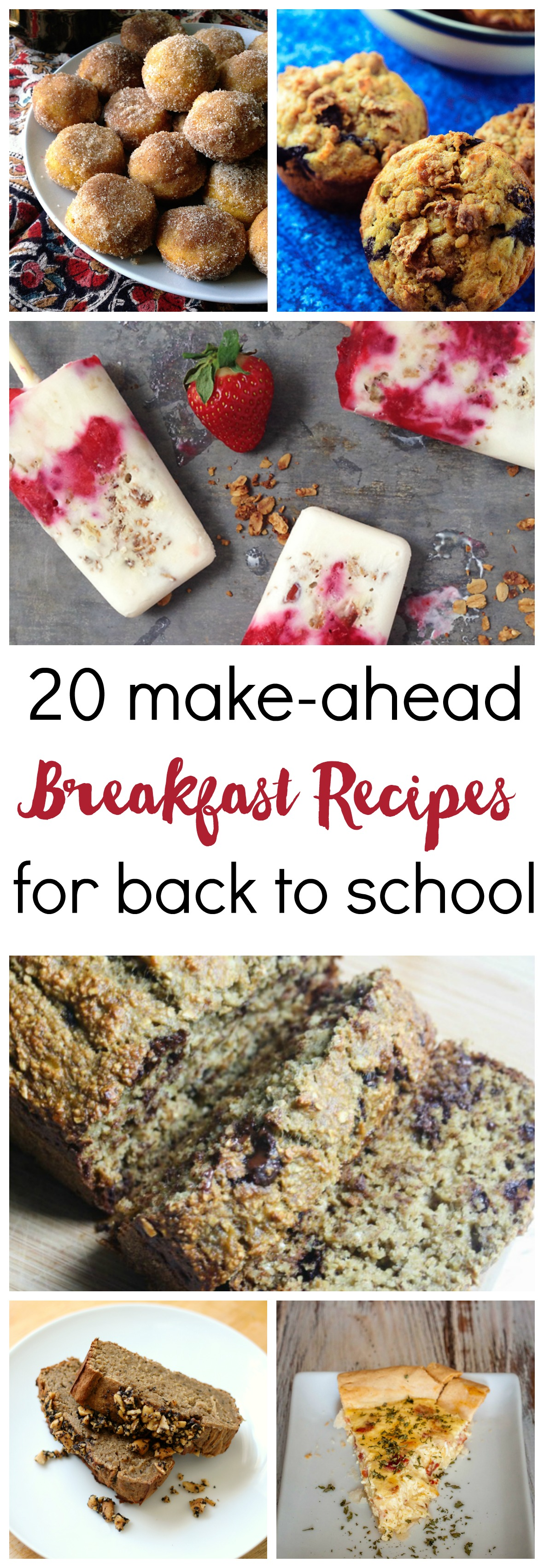 Easy, make-ahead breakfasts are a must for when the kids go back to school! Here are 20 ideas for grab-and-go muffins, breads, donuts, popsicles and more.
