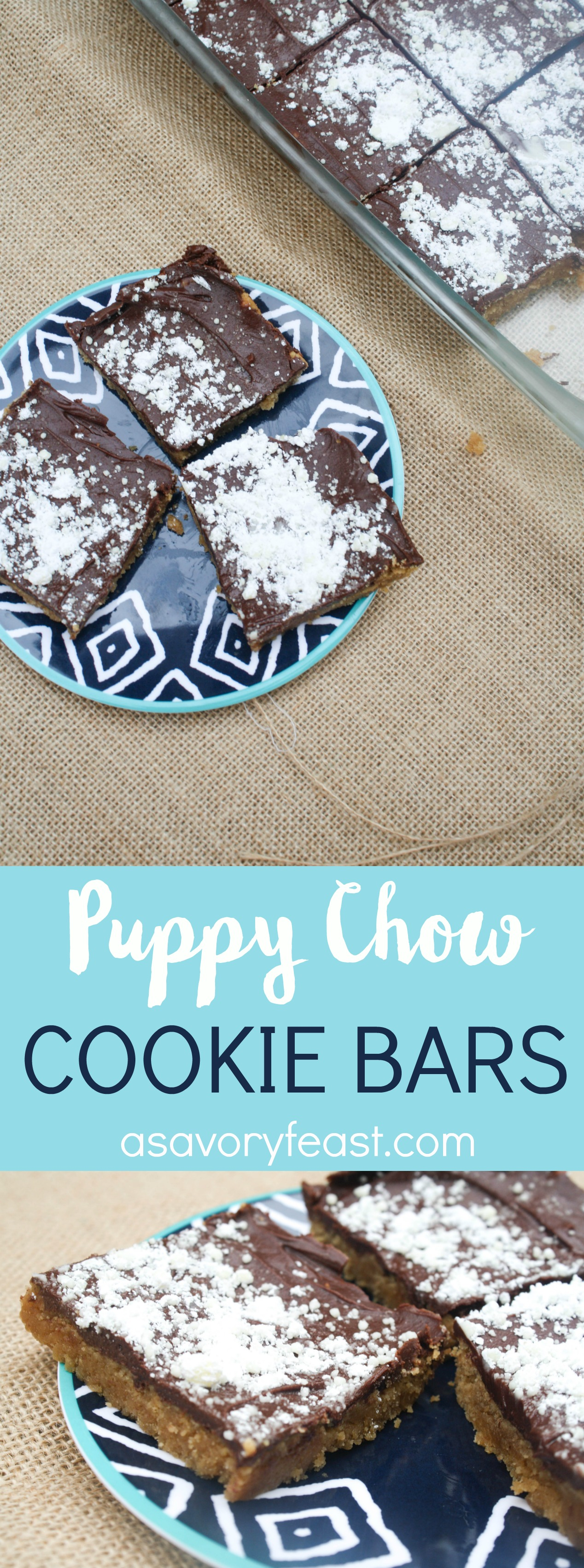 Love puppy chow? It's even better in these cookie bars! All the flavor you love from puppy chow, but in bar form. These bars start with a soft peanut butter cookie layer followed by a chocolate peanut butter layer. Sprinkle with powdered sugar for the final touch!
