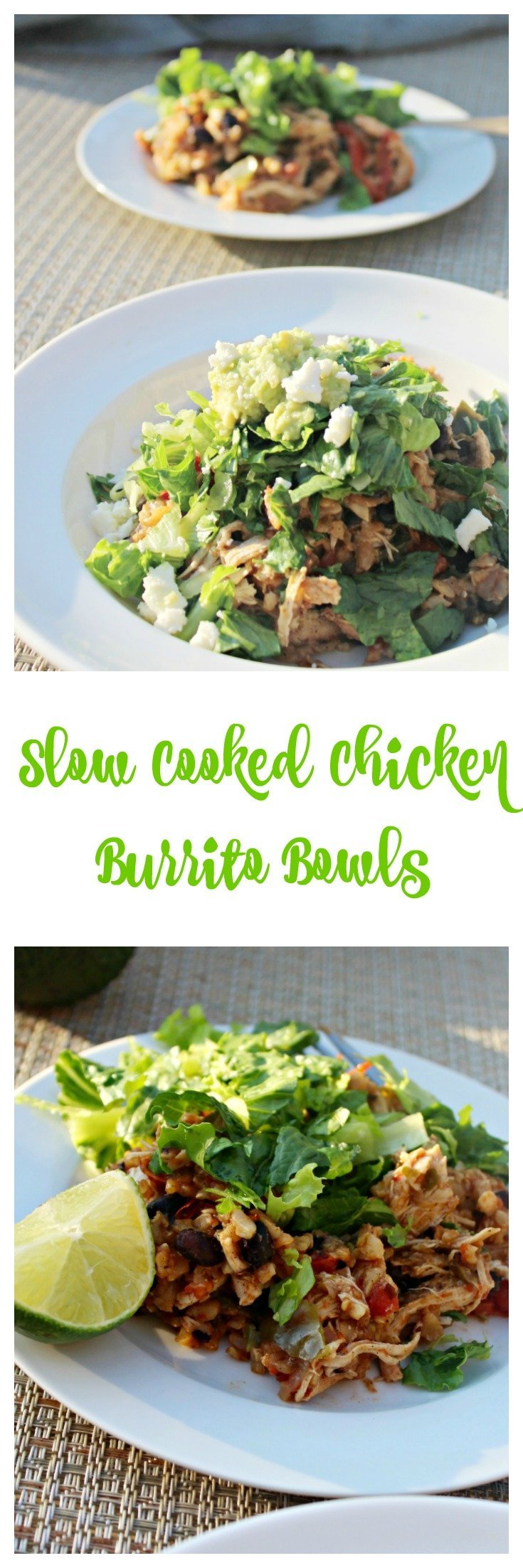 Slow Cooked Chicken Burrito Bowls are an easy meal for back to school. No need to turn on the oven, just throw everything in the slow cooker and you'll have dinner ready when you come home.