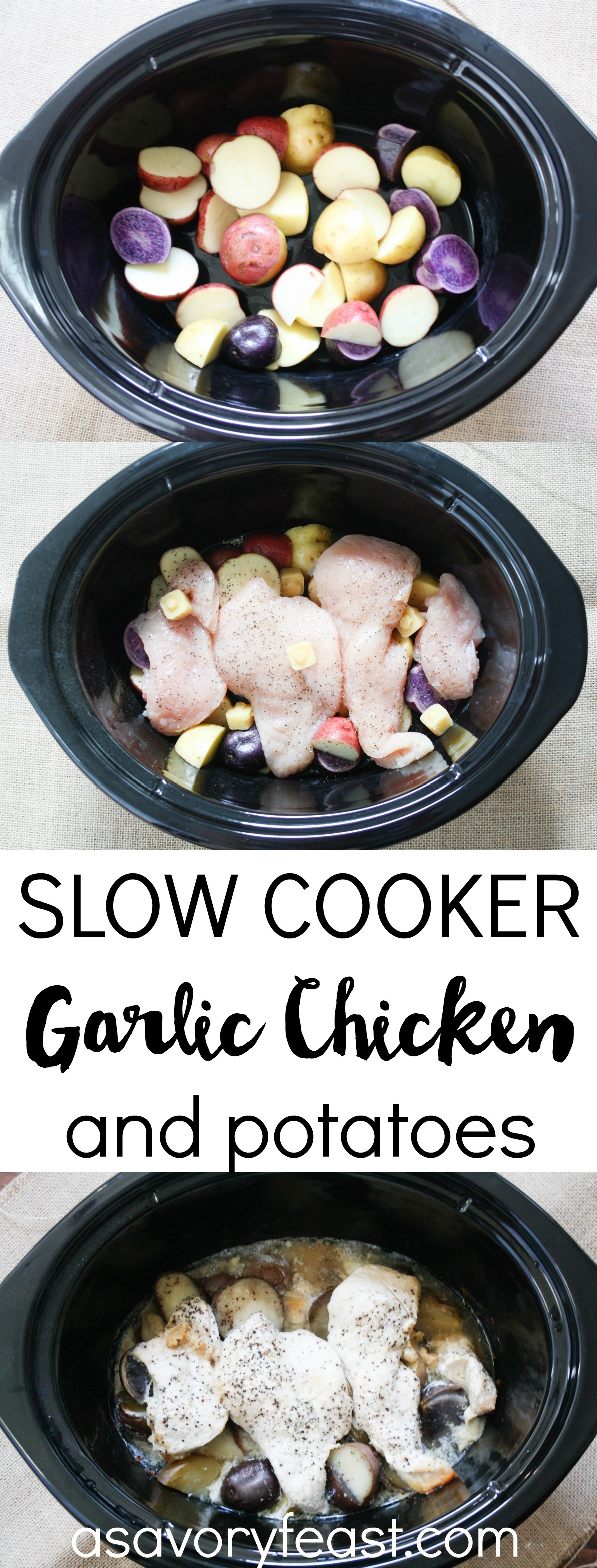 An easy slow cooker dinner to make your life easier! This Garlic Chicken and Potatoes is so simple to make with just a couple of ingredients. Just 5 minutes of prep and you'll have this delicious dinner cooking in the slow cooker!