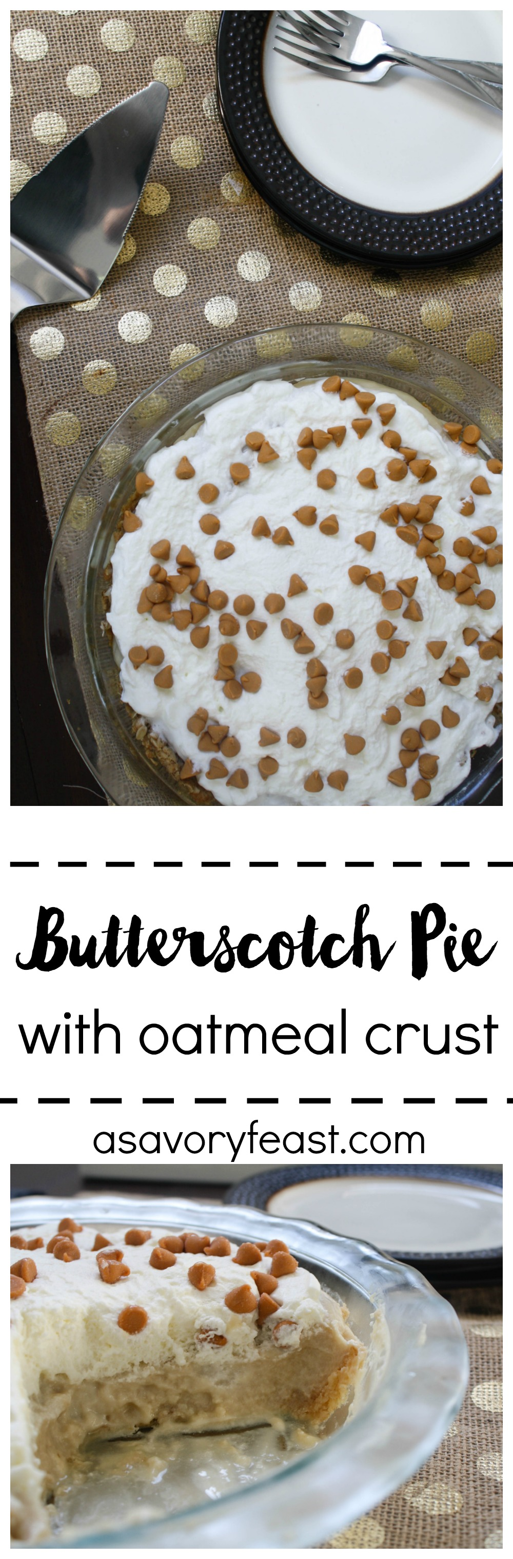 This Butterscotch Pie with Oatmeal Crust is made from scratch, but don't let that scare you! It starts with a simple oatmeal crust. Homemade butterscotch pudding comes next, topped with a super easy whipped cream and butterscotch chips. Your Thanksgiving menu just won't be complete without this dessert!