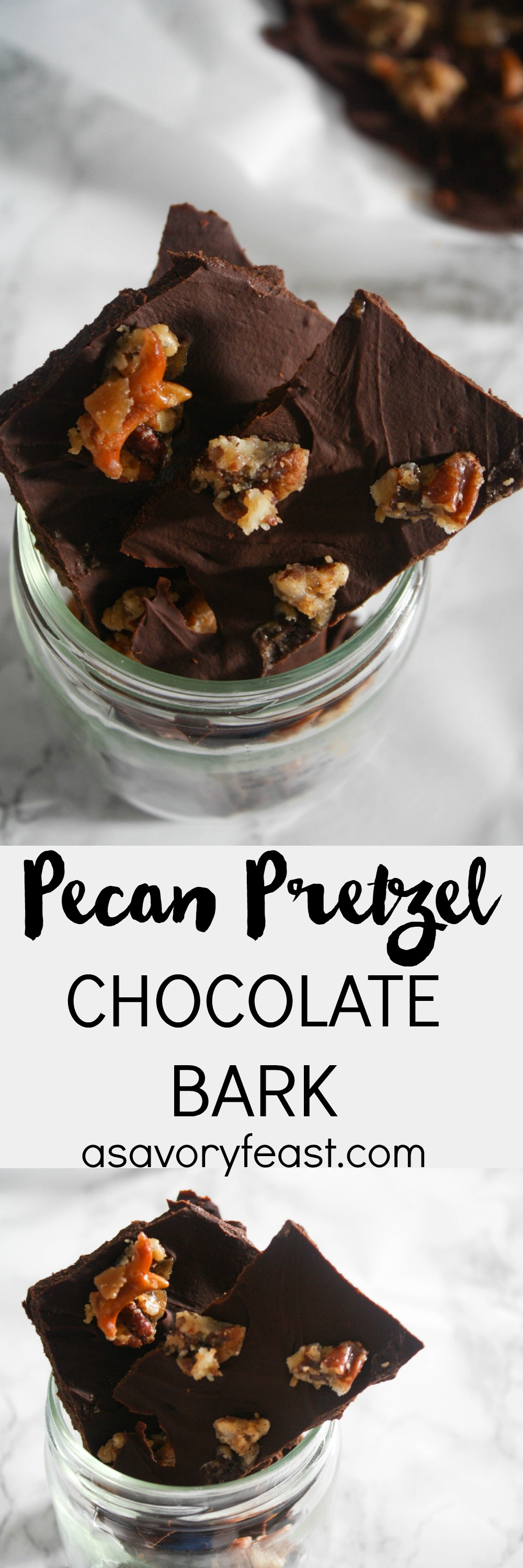 Kick off your holiday baking with an easy chocolate bark! This Pecan Pretzel Chocolate Bark is a wonderful combination of salty and sweet. Perfect for gifting or holiday parties!