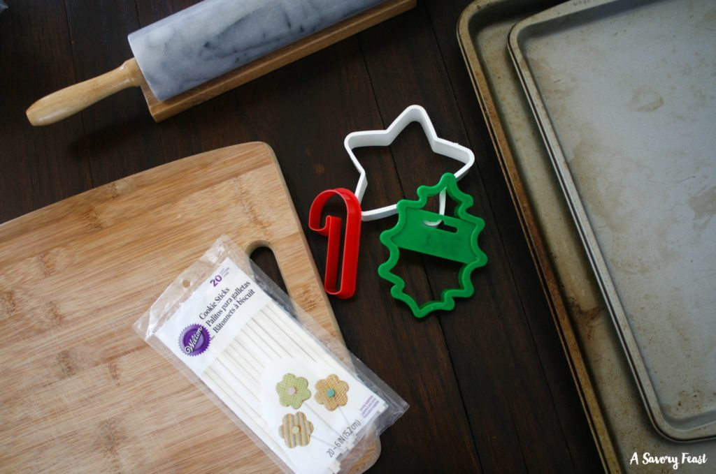 Tools needed to make Christmas Cookie Pops.