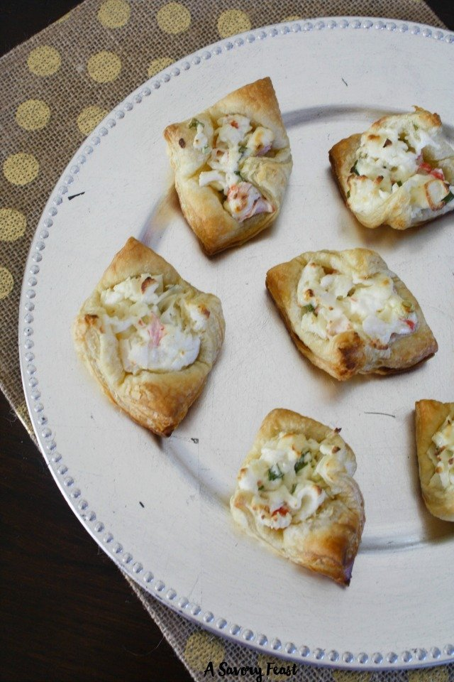 These delightful Crab Puff Pastry Bites are just the thing for Holiday parties! A light, flavorful appetizer that is easy to make in 30 minutes.