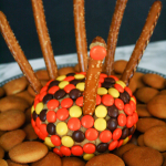Thanksgiving Turkey-Shaped Peanut Butter Cheeseball
