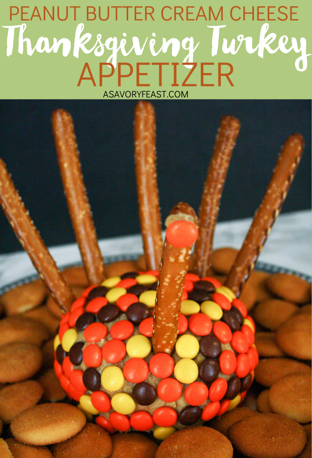 This is the cutest Thanksgiving appetizer! Your guests will gobble up this Turkey-Shaped Peanut Butter Cheeseball. A sweet ball of cream cheese and peanut butter covered with Reese's Pieces and decorated to look like a turkey. Serve with pretzels and Nilla Wafers for an appetizer or dessert.