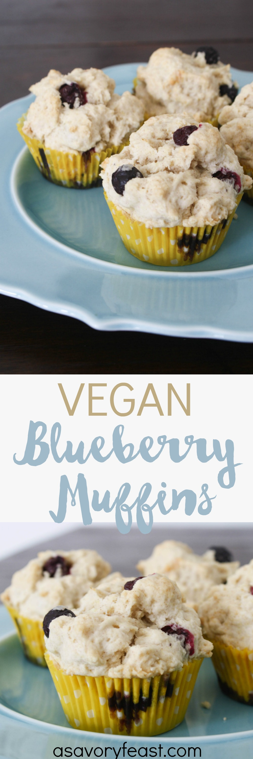 These delicious blueberry muffins are made without eggs or dairy! Whether or not you eat a vegan diet, you will love this easy breakfast idea. A great way to start the day!