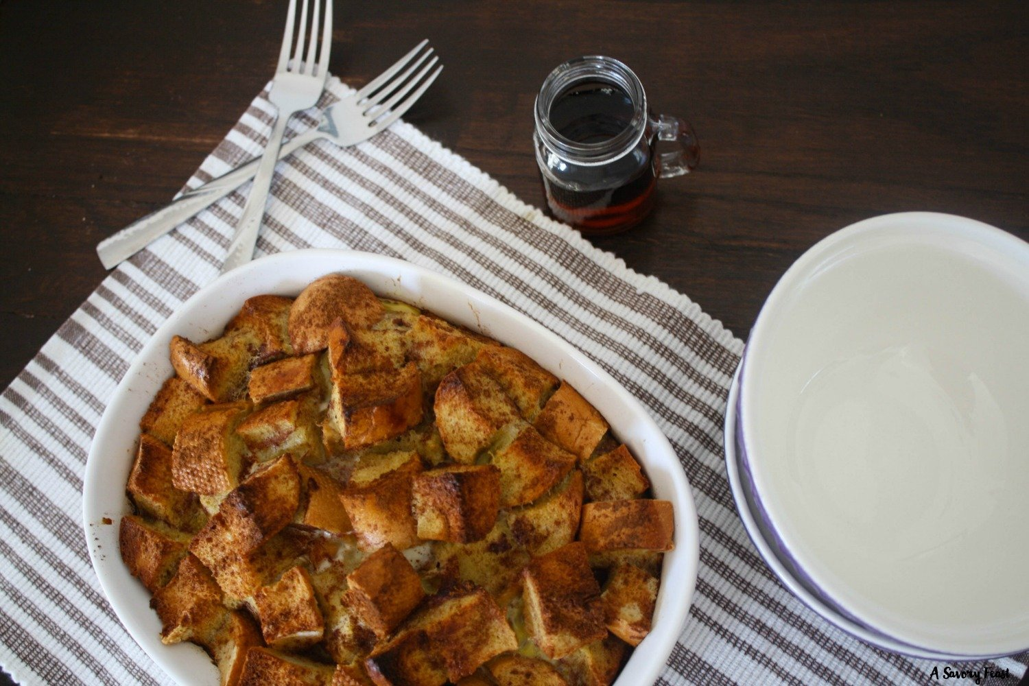 I think every weekend needs to start with a big, special breakfast like this! Cinnamon French Toast Bake is simple to assemble (no need to put it together the night before!). Sweetened only with maple syrup, it's a breakfast choice that is a little bit healthier, too.