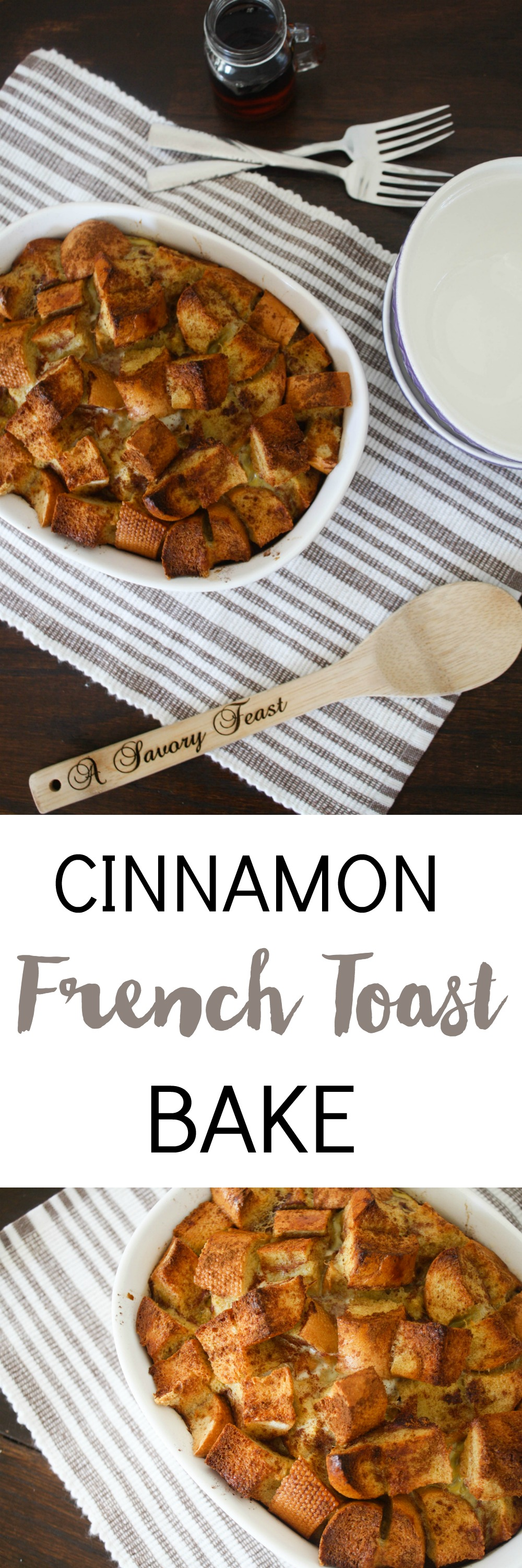 I think every weekend needs to start with a big, special breakfast like this! Cinnamon French Toast Bake is simple to assemble (no need to put it together the night before!). Sweetened only with maple syrup, it's a breakfast choice that is a little bit healthier, too. | French Toast Casserole | Breakfast Recipes | Brunch Recipes | French Bread Recipes