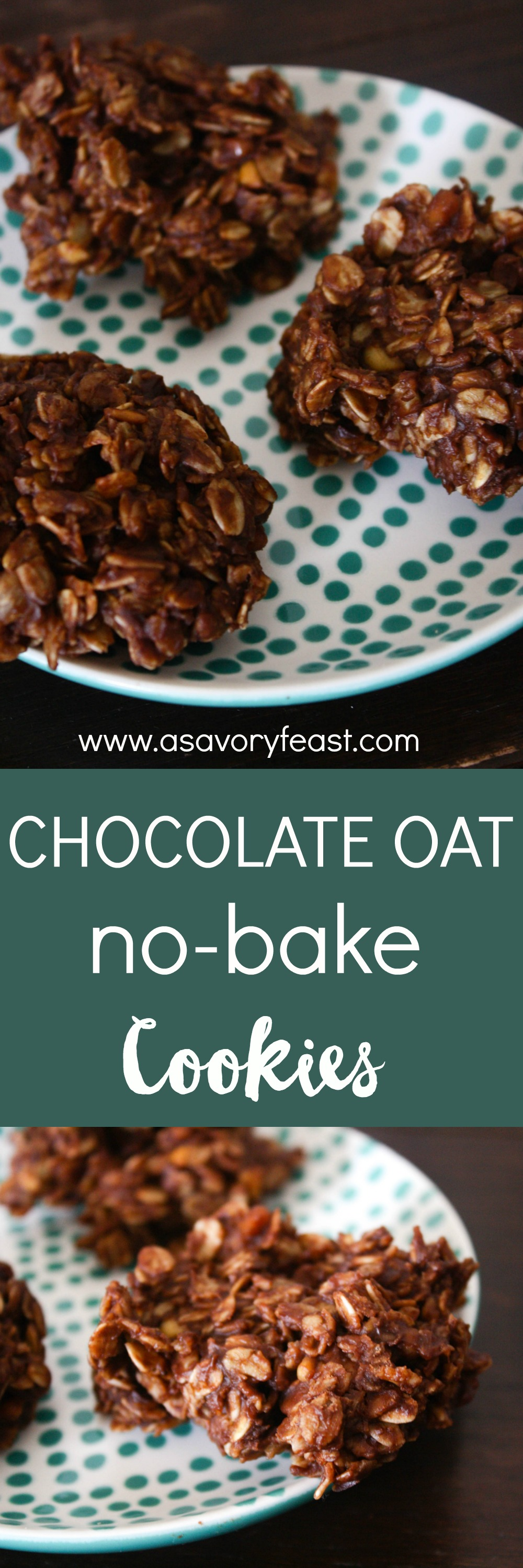 These Chocolate Oat No-Bake Cookies are so easy to make and they are good for you, too! Gluten free and refined sugar free, sweetened with maple syrup. Mix them up in about 10 minutes! It doesn't get any easier than that. | No Bake Cookies | Easy Cookie Recipe | Healthy Cookies | Guilt Free Cookies