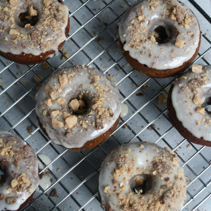 Toffee Chocolate Baked Donuts