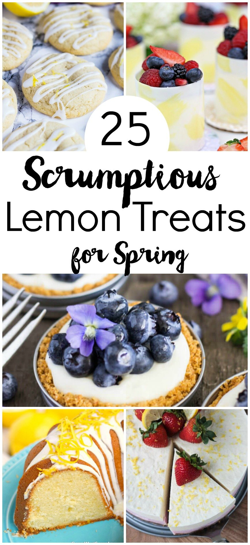 Get ready for Spring with these 25 Scrumptious Lemon Treats! Cookies, ice cream cakes, pies, cupcakes and so much more. Celebrate the season with one of these refreshing desserts!
