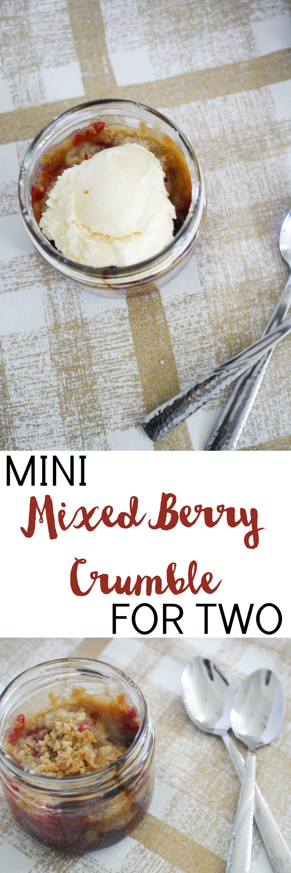 This easy dessert is just the right portion size for two! Mini Mixed Berry Crumble for Two is just the thing for date night or sharing with a friend.
