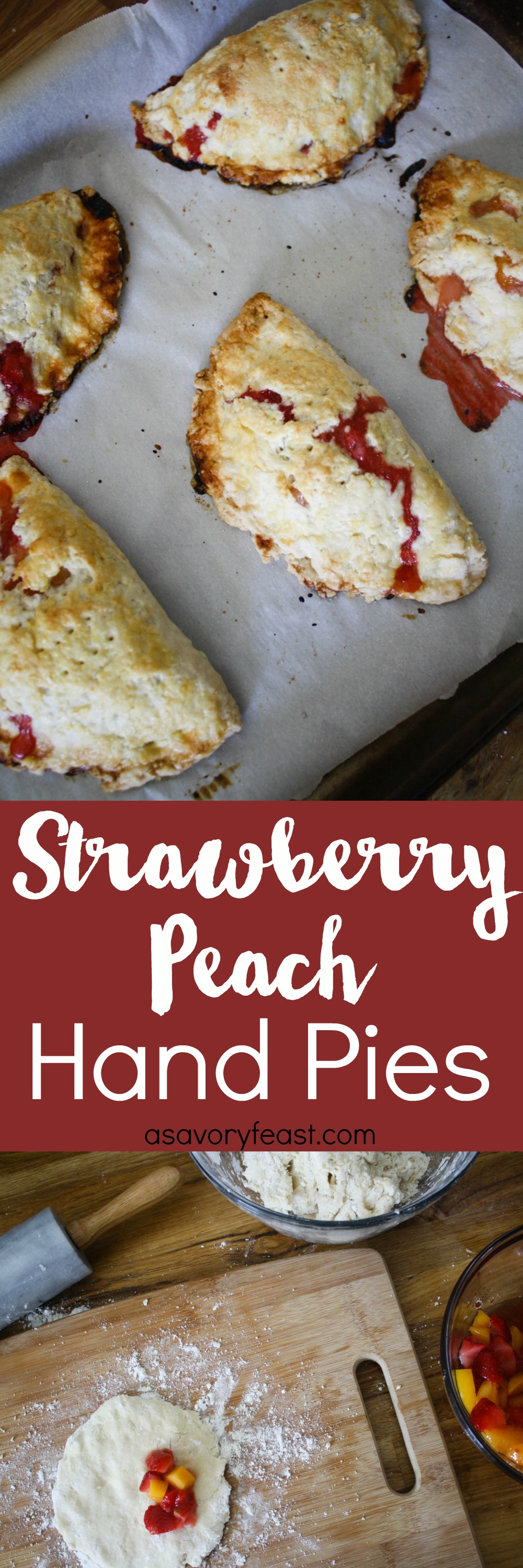 Strawberry Peach Hand Pies are a sweet, rustic dessert that is perfect for Spring! Homemade pie crust wrapped around a juicy filling of peaches and strawberries. | Hand Pies | Peaches | Strawberries | Spring Desserts