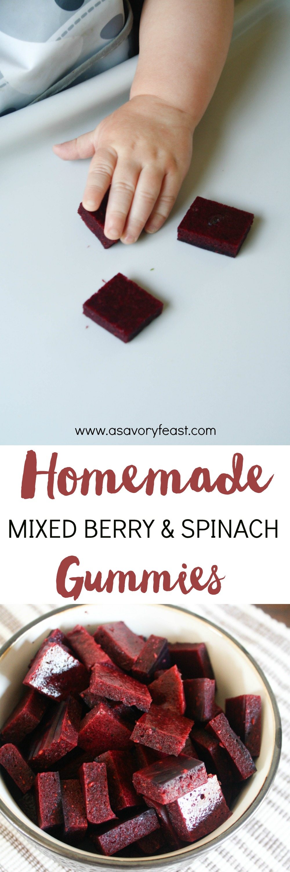A healthy snack that is perfect for kids, or the kid in you! These Homemade Mixed Berry & Spinach Gummies are sugar free and packed with fruits and veggies. Not only are these snacks packed with real fruit, but they are also a great way to sneak in some vegetables! A snack that babies, toddlers and kids of all ages will love. | Snacks | Healthy Snacks | Snacks for Kids | Homemade Fruit Gummies