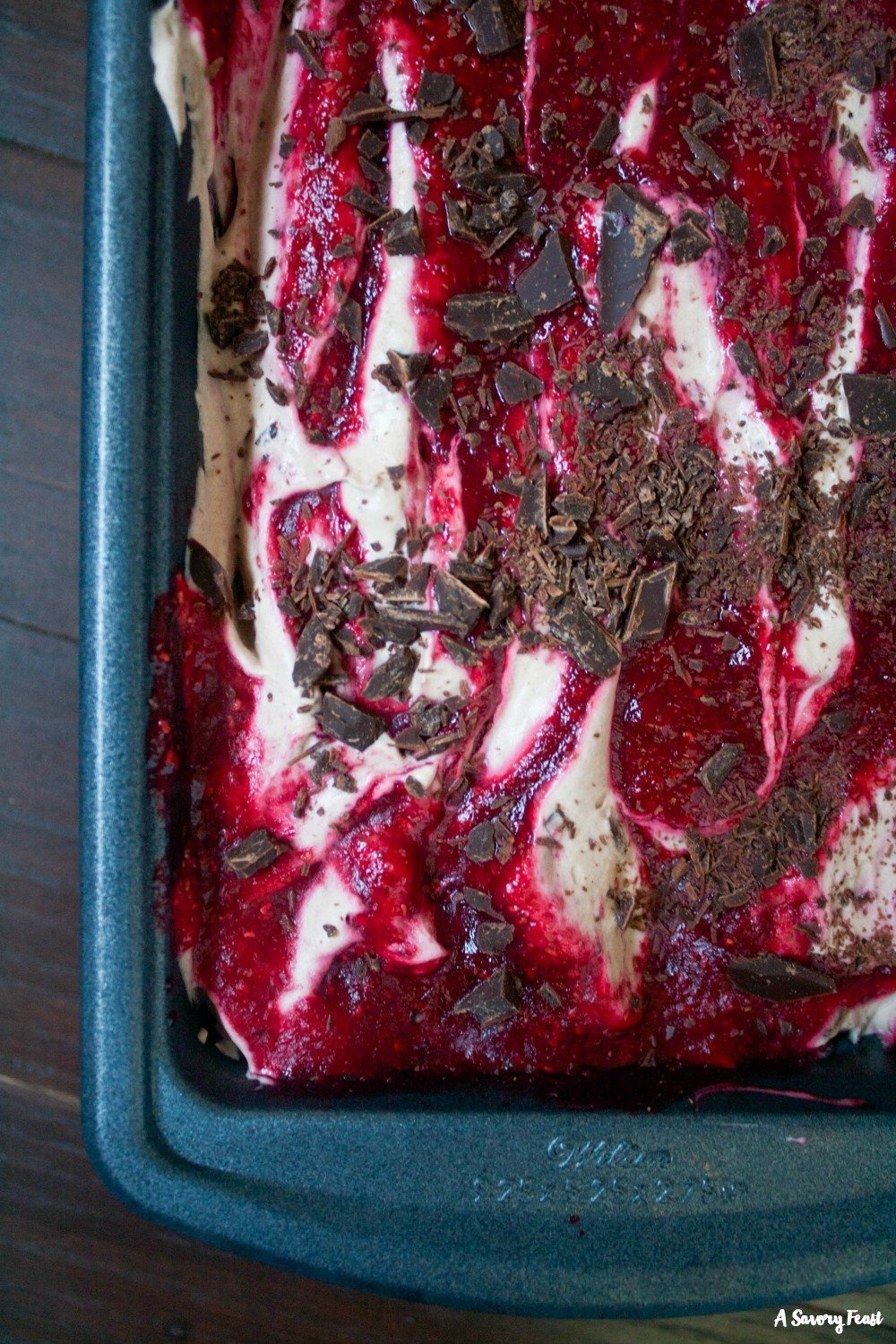 Raspberry Swirl Chocolate No Churn Ice Cream is so easy to make!