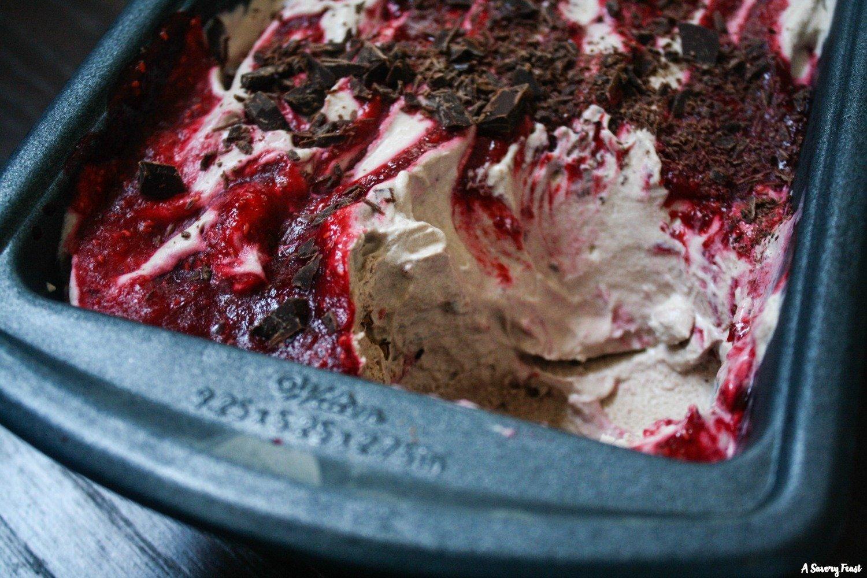 The perfect dessert for Mother's Day! Raspberry Swirl Chocolate No Churn Ice Cream