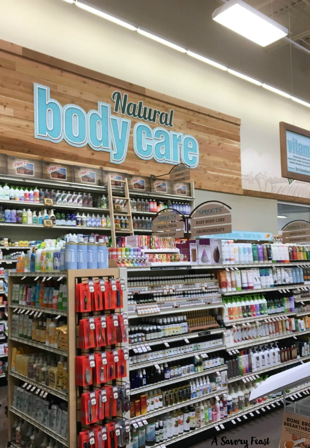 The Natural Body Care section at Sprouts carries a wide variety of vitamins, probiotics, skin care items, sunscreen and much more.