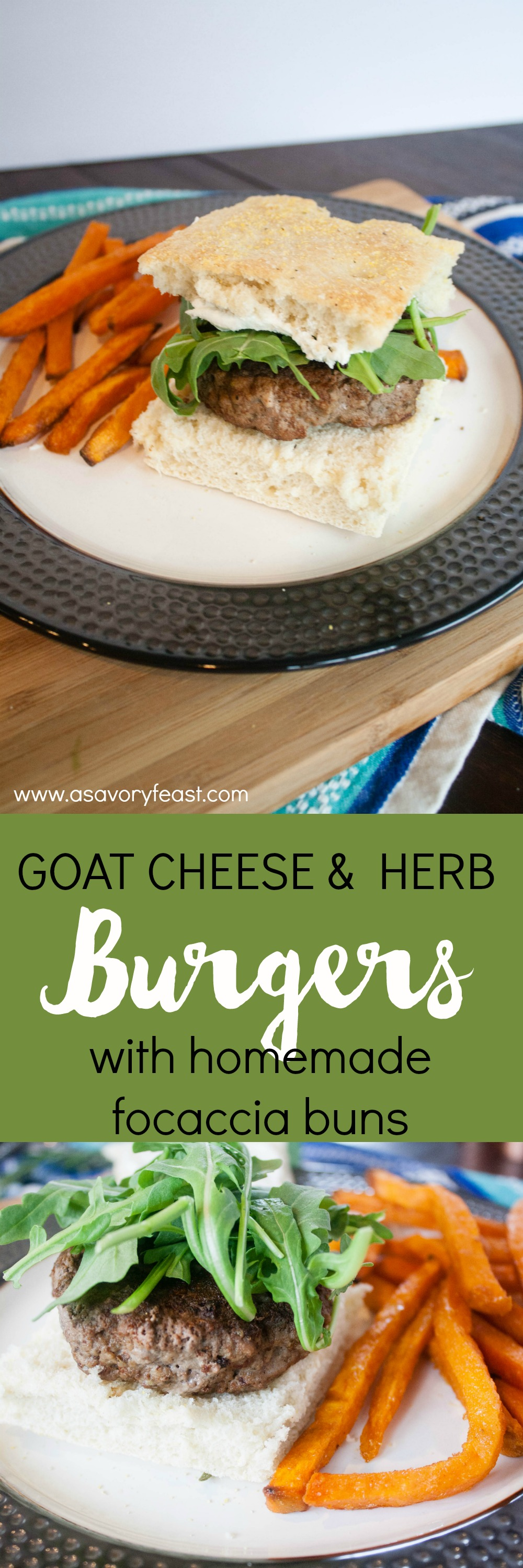 Summer means cookout season! Try something new with these Goat Cheese and Herb Burgers with Homemade Focaccia Buns. A flavorful burger topped with herb-infused goat cheese and arugula, all served on a made-from-scratch focaccia bun.