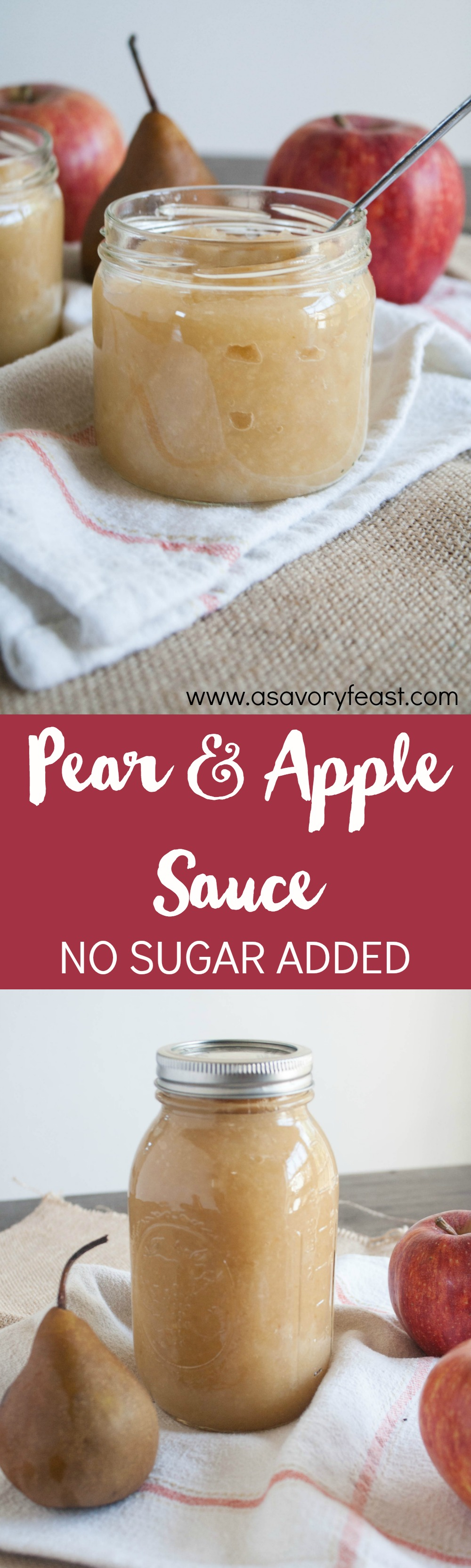 Homemade Pear and Apple Sauce is an easy recipe that kids and adults will love! Fresh apples and pears made into a homemade sauce with no added sugar. You won't believe how easy this recipe is to make at home! Once you try it, you'll never go back.