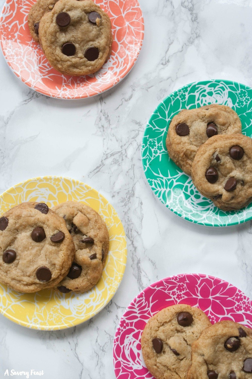 These are the best vegan chocolate chip cookies! Soft, chewy, sweet and delicious. You won't believe that these cookies are dairy free and egg free.