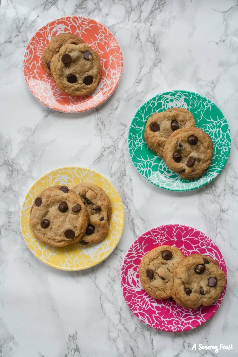 These soft, chewy chocolate chip cookies are dairy free and egg free!