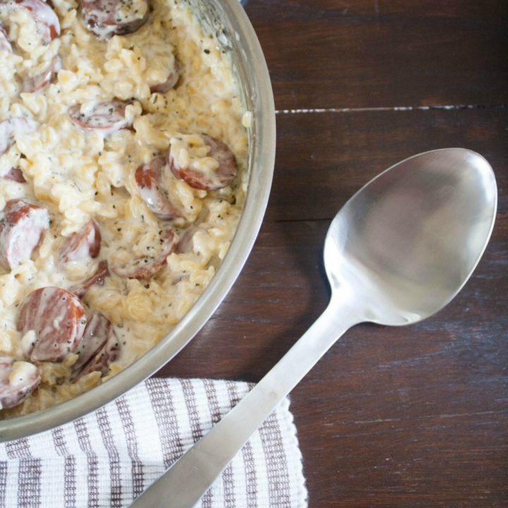 Creamy Parmesan and Sausage Orzo