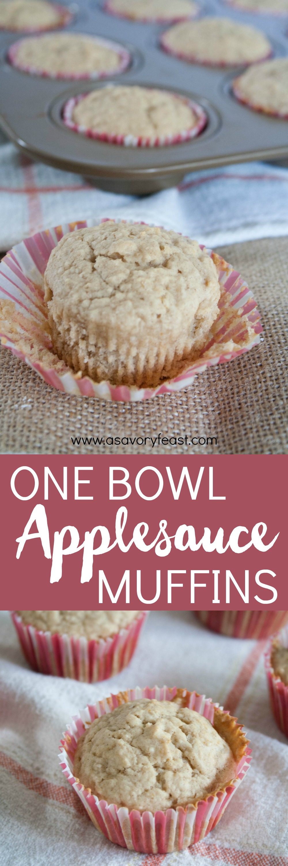 Applesauce gives these One Bowl Applesauce Muffins a moist texture and a delicious fruity taste! Great for a grab-and-go breakfast, these muffins don't require much clean up since they are mixed up in one bowl!