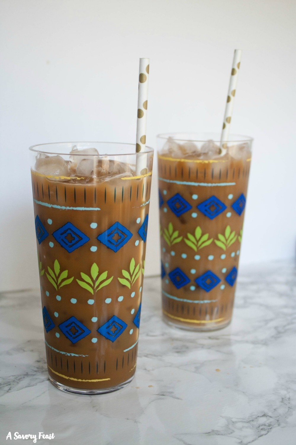 How to make homemade iced coffee with sweetened condensed milk.