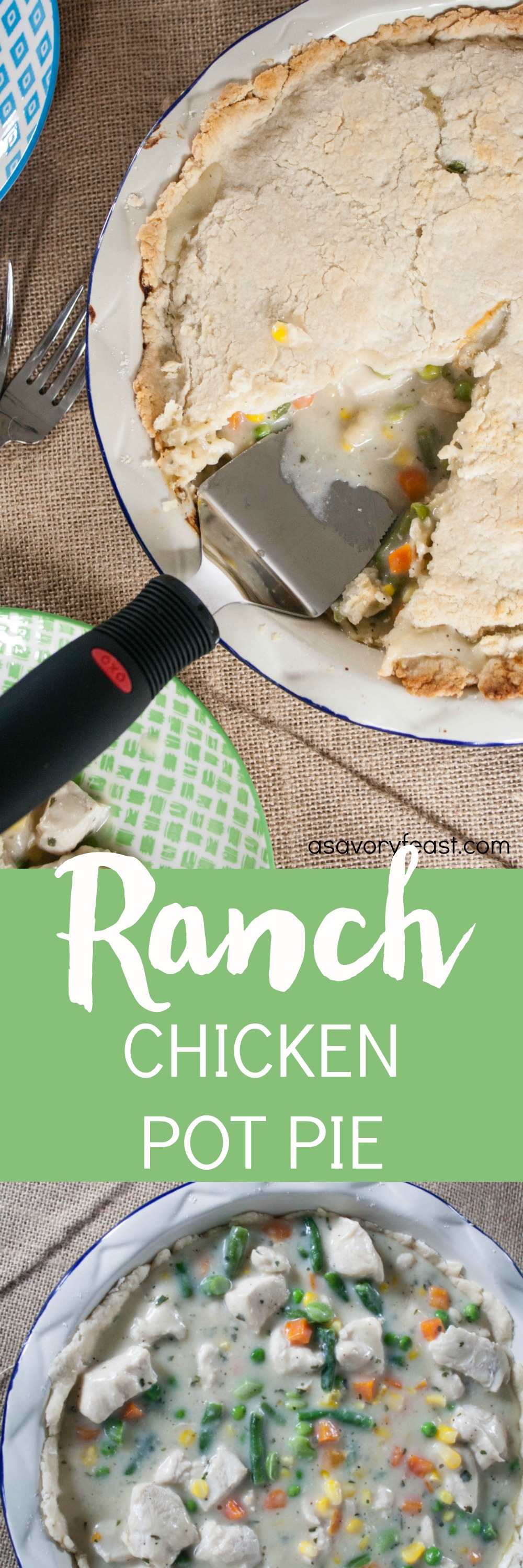 Try this twist on chicken pot pie for dinner tonight! Ranch Chicken Pot Pie a completely made from scratch with an easy pie crust and a savory ranch chicken filling.
