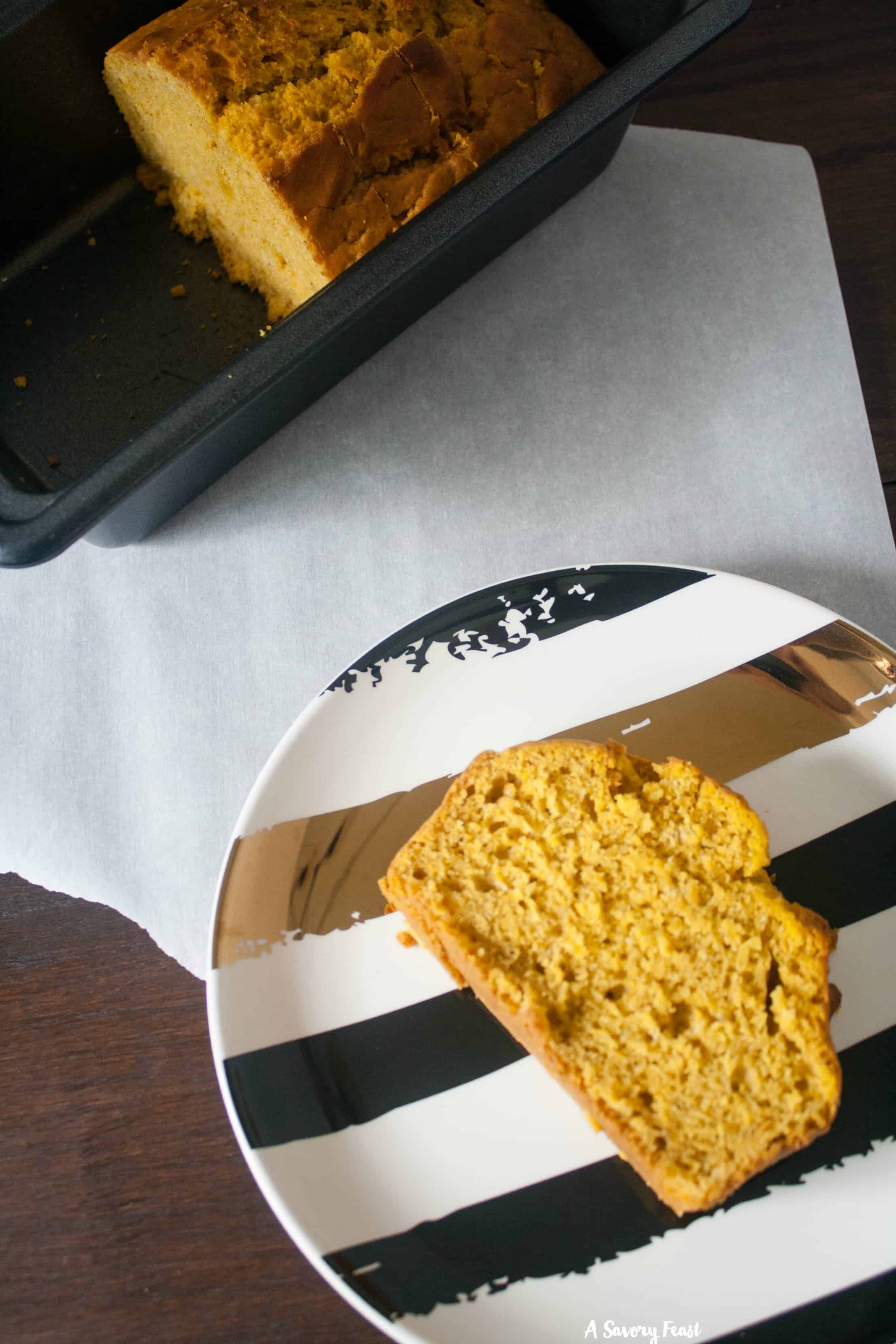 This One Bowl Vegan Pumpkin Bread is a quick way to get your pumpkin fix! Makes a great snack or grab-and-go breakfast. It's delicious with a cup of coffee.