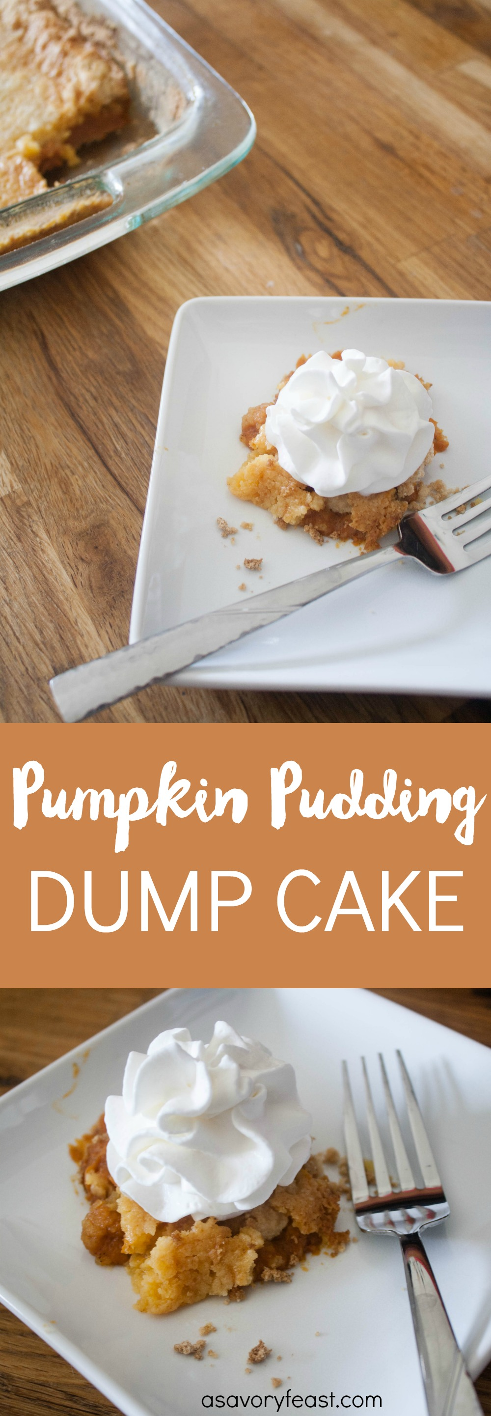 Tis the season for pumpkin everything! This Pumpkin Pudding Dump Cake is the easiest Fall dessert ever! Made with just a few easy ingredients including pumpkin puree, a cake mix and a pudding mix. This yummy cake is best served warm with a scoop of vanilla ice cream or a dollup of whipped cream.