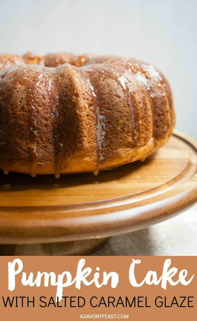 This Fall, try this fun way to dress up a boxed cake mix! Pumpkin Cake with Salted Caramel Glaze is a scrumptious flavor combination. The simple pumpkin bundt cake is made using a boxed cake mix and a few extras to make it special. Next comes a sweet caramel glaze, all topped with sea salt!