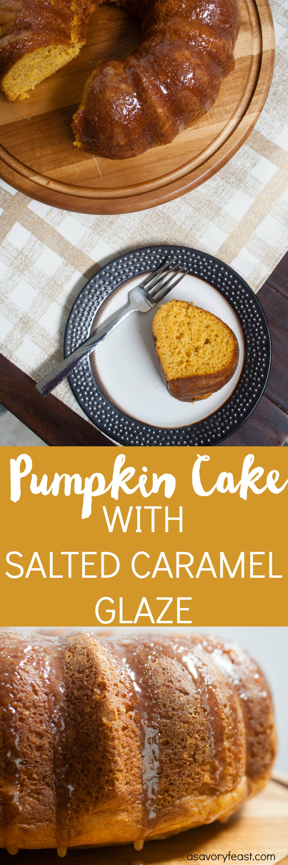 This cake is the ultimate Fall dessert! This Pumpkin Cake with Salted Caramel Glaze recipe dresses up a boxed cake mix and turns it into a easy pumpkin bundt cake. Next comes a homemade caramel glaze, all topped with sea salt. Get into the Fall baking spirit with this sweet treat!