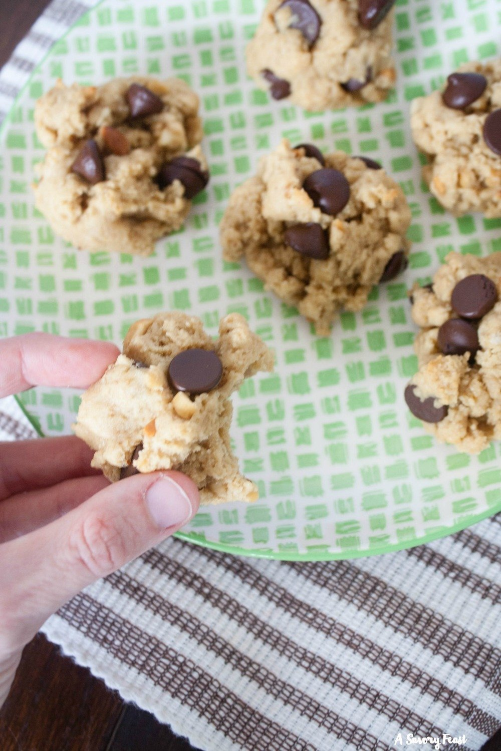 Perfect for an after school snack! Peanut Butter Cream Cheese Chocolate Chip Cookies