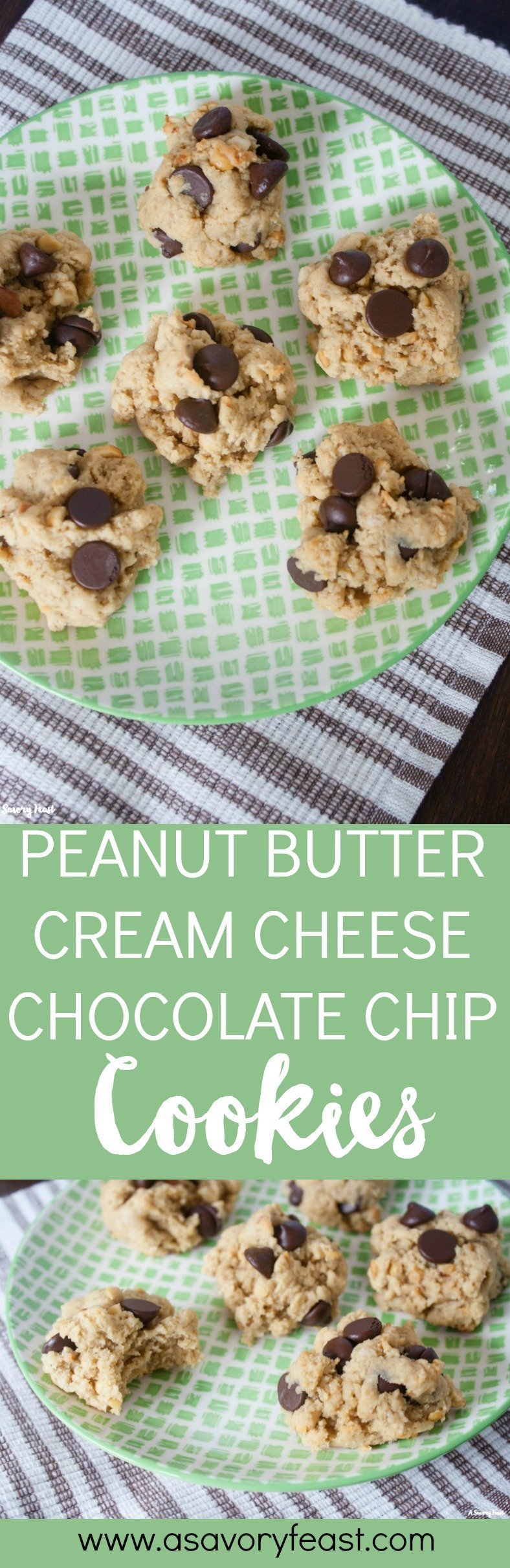 Craving a sweet afternoon snack? Make these Peanut Butter Cream Cheese Chocolate Chip Cookies! Made with cream cheese instead of butter, these cookies have an amazing texture, plus they combine the flavors of peanut butter and chocolate into one yummy cookie.