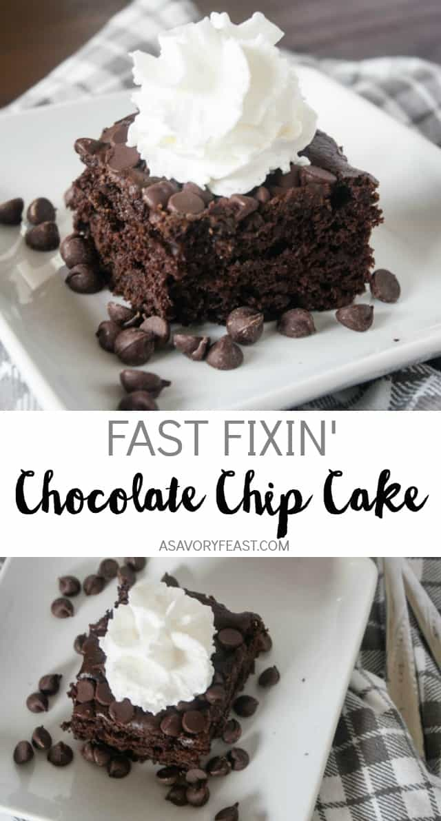 Need to make a last minute dessert for guests or to satisfy a chocolate craving? This Fast Fixin' Chocolate Chip Cake is a snap to mix up using a boxed cake mix and a few special ingredients. You probably already have everything in the house to make this rich cake! No one will believe that you didn't make it completely from scratch.