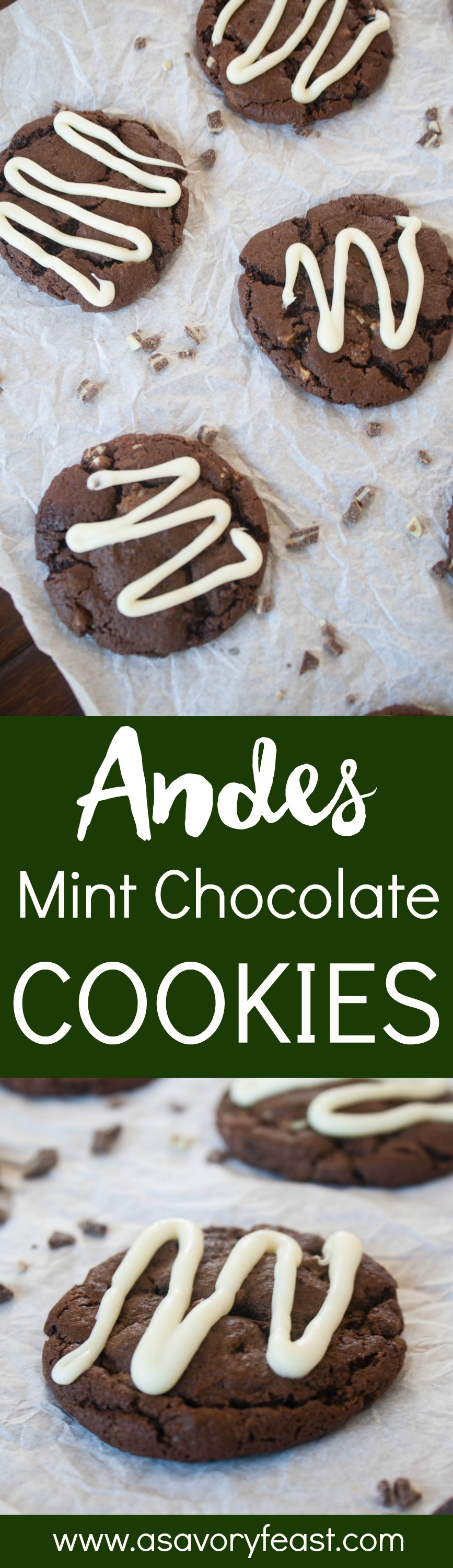 Chocolate and mint are the perfect pair in this cookie recipe! Try these Andes Mint Chocolate Cookies this holiday season. A soft chocolate cookie with pieces of Andes candy inside, topped with a peppermint and white chocolate drizzle. This recipe is easy to double or triple, so it's great for bringing to a Christmas cookie exchange!