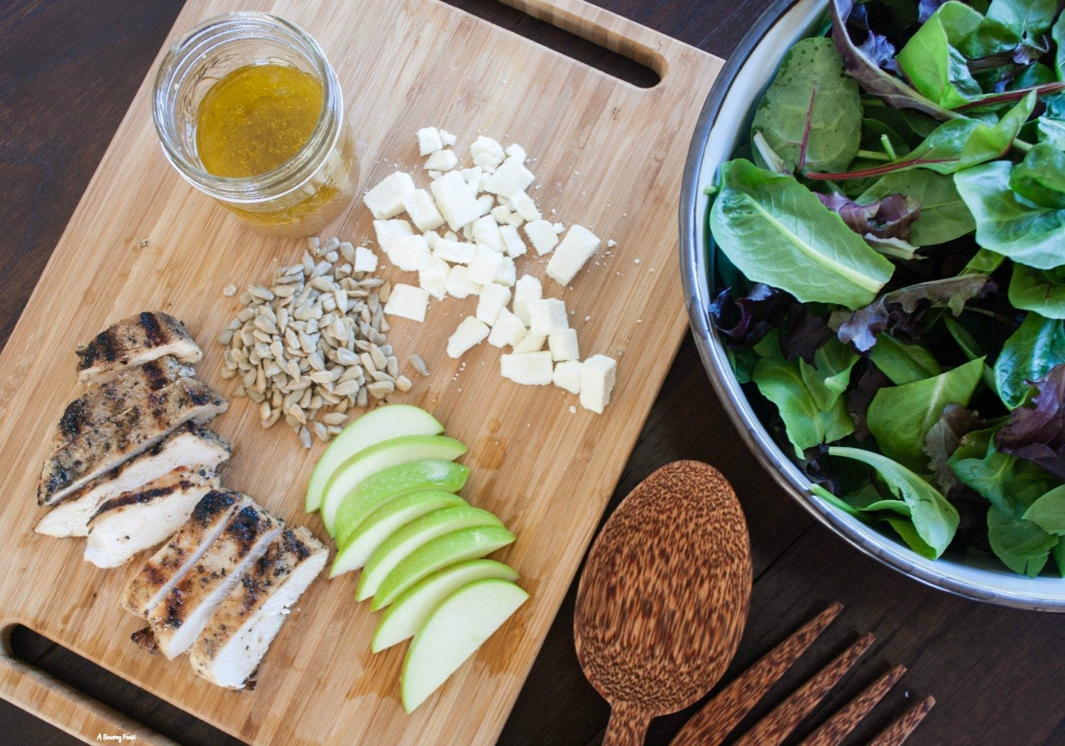 Grilled Chicken and Apple Salad with Homemade Apple Vinaigrette.