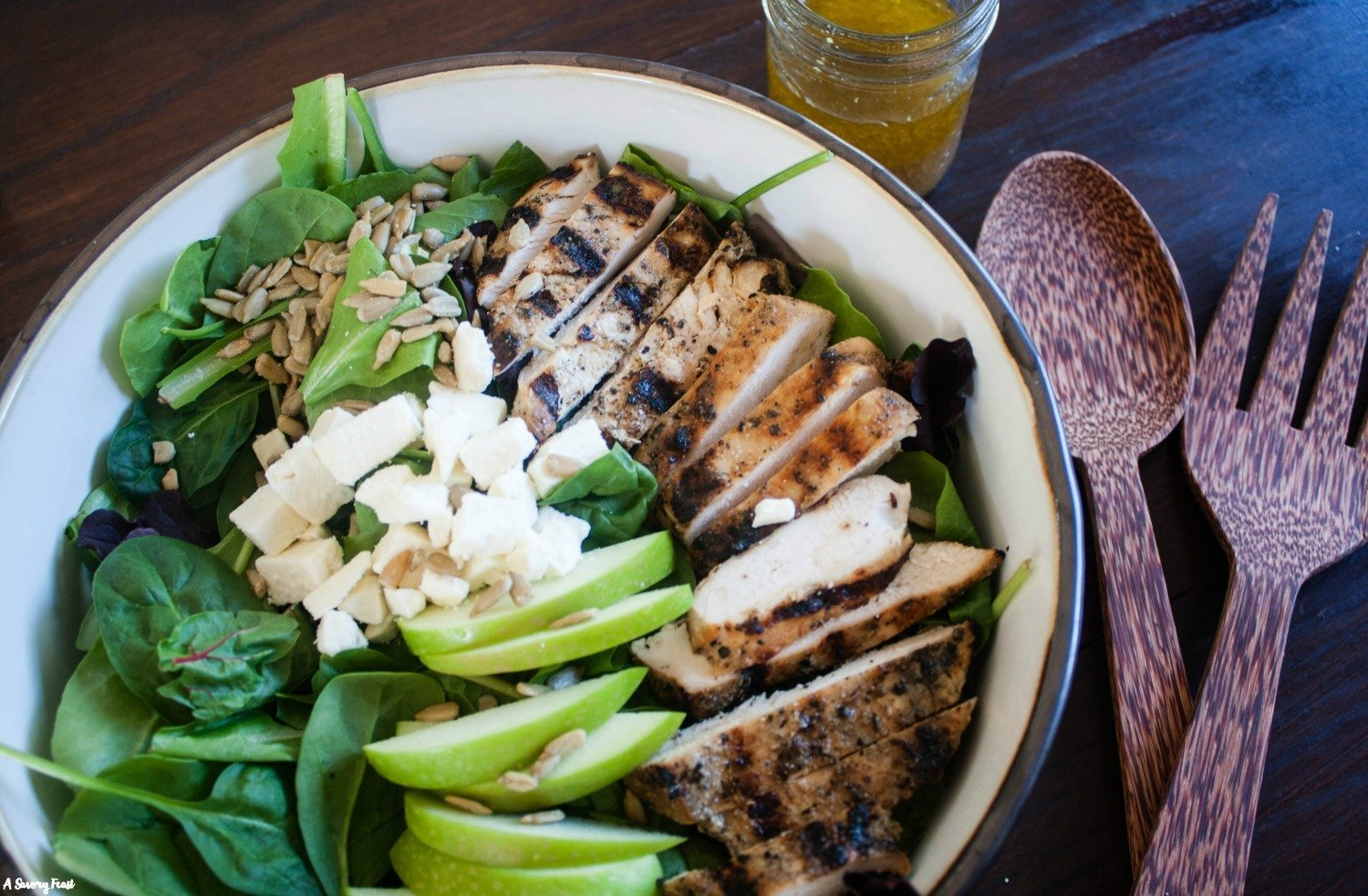 Sweet, tangy and savory come together in this beautiful Grilled Chicken and Apple Salad with Homemade Apple Vinaigrette.