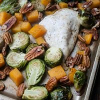 One Pan Honey Pecan Chicken with Butternut Squash and Brussels Sprouts