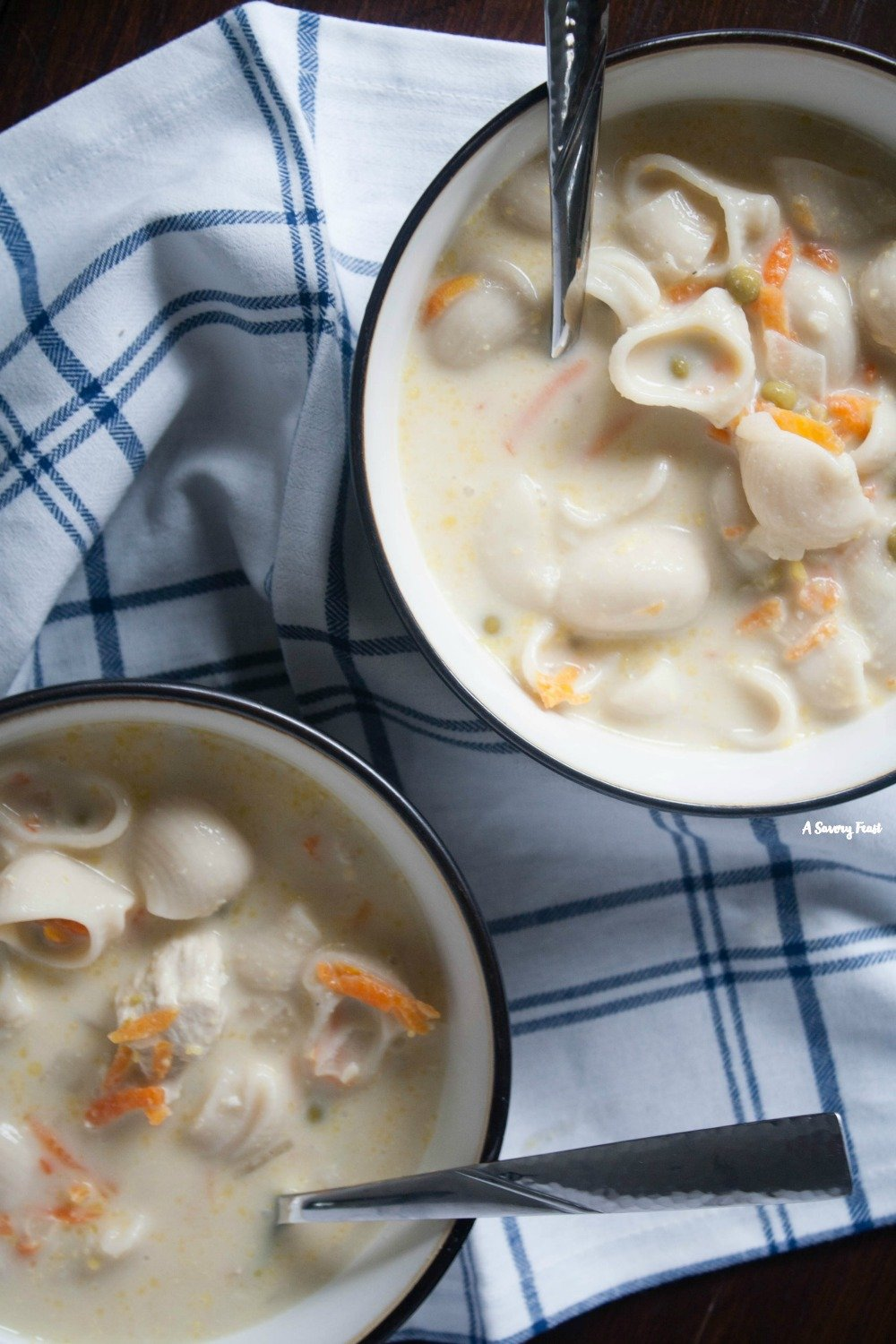Warm up with this Creamy Chicken Noodle Soup recipe for dinner.