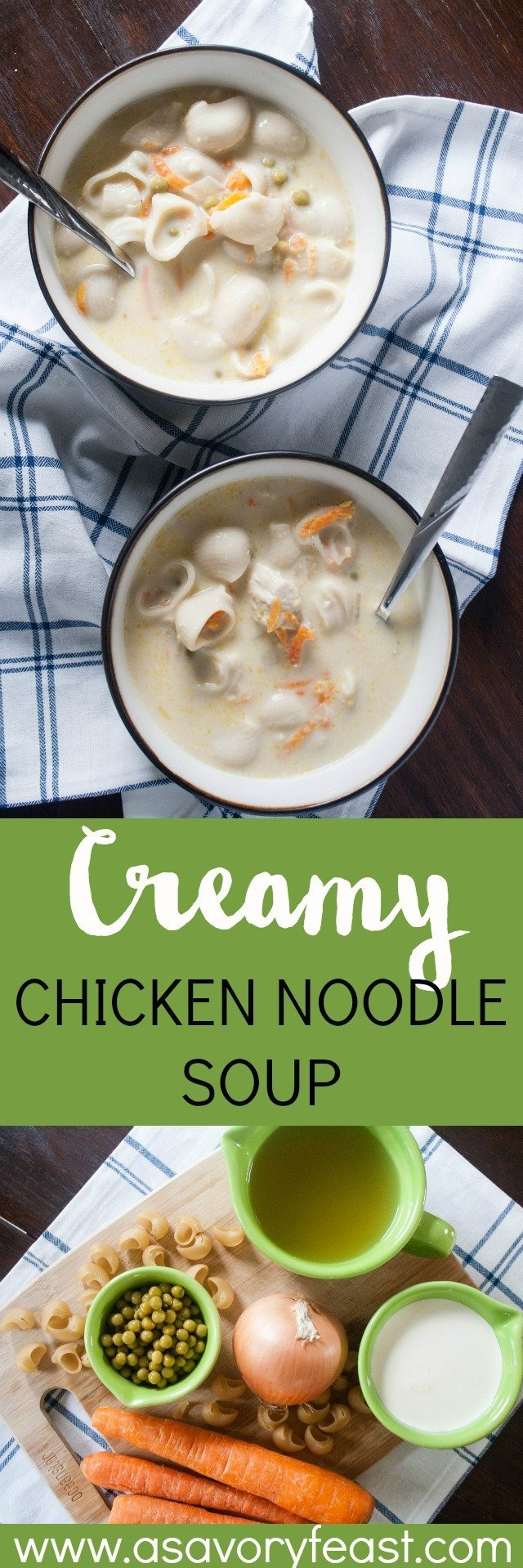 Warm up with this Creamy Chicken Noodle Soup! A flavorful one pot chicken soup with a bit of heavy cream added in. Loaded up with lots of veggies and noodles for a hearty meal. Great for a sick day, too!