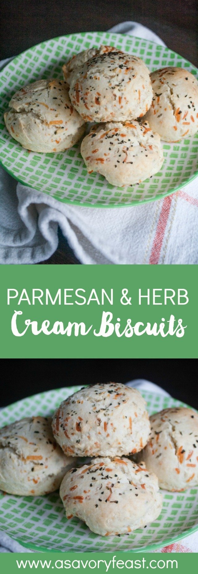 These savory Parmesan & Herb Cream Biscuits will go great with whatever you are making for dinner tonight! This recipe is so simple to make in one bowl. Cream biscuits are made with heavy whipping cream for an amazing light, fluffy texture. These include herbs and shredded parmesan cheese for extra flavor. Mix them up to enjoy as a side with dinner tonight!
