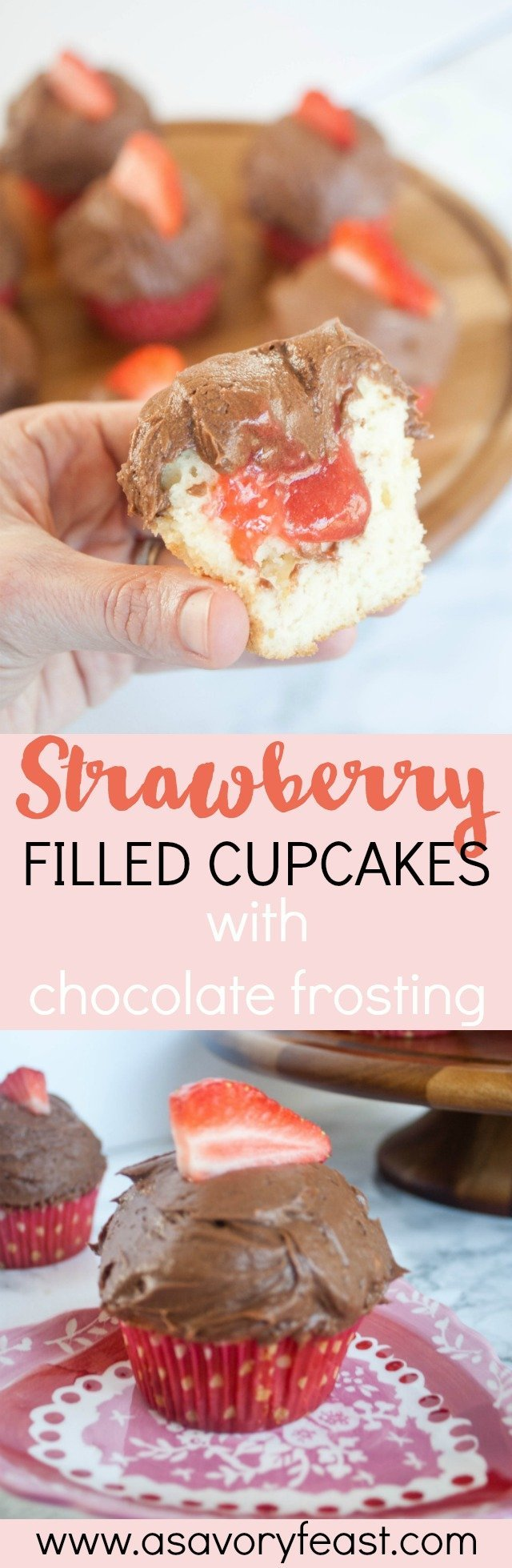 Strawberry Filled Cupcakes with Chocolate Icing are a sweet Valentine's Day dessert that is made completely from scratch! Start with a basic, homemade vanilla cupcake and fill it with a strawberry filling. Top with a simple chocolate icing! Spoil your Valentine with this sweet treat. #valentinesday #valentinesdessert #cupcakes #valentinesdayfood