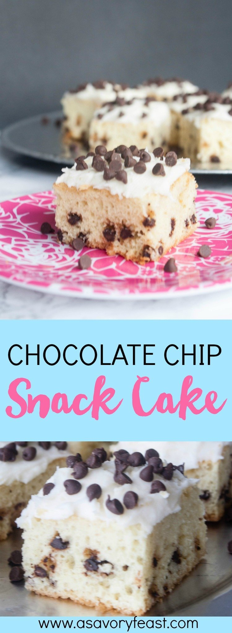 Mini Chocolate Chips turn this yellow cake into a fun treat for a party or shower! Chocolate Chip Snack Cake is a dessert that will feed a crowd. It starts with a yellow cake filled with mini chocolate chips. It's topped with a cream cheese frosting and more mini chocolate chips.