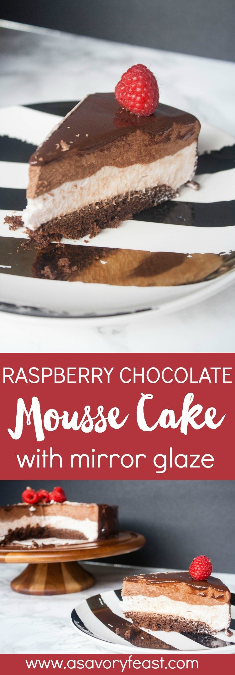 Want to WOW your friends? Make this Raspberry Chocolate Mousse Cake with Mirror Glaze! This triple layered cake starts with a from-scratch chocolate cake, followed by a fresh raspberry mousse and a chocolate mousse. Then the entire cake is covered with a gorgeous mirror glaze. This dessert is perfect for Valentine's Day, birthdays, anniversaries or just because!