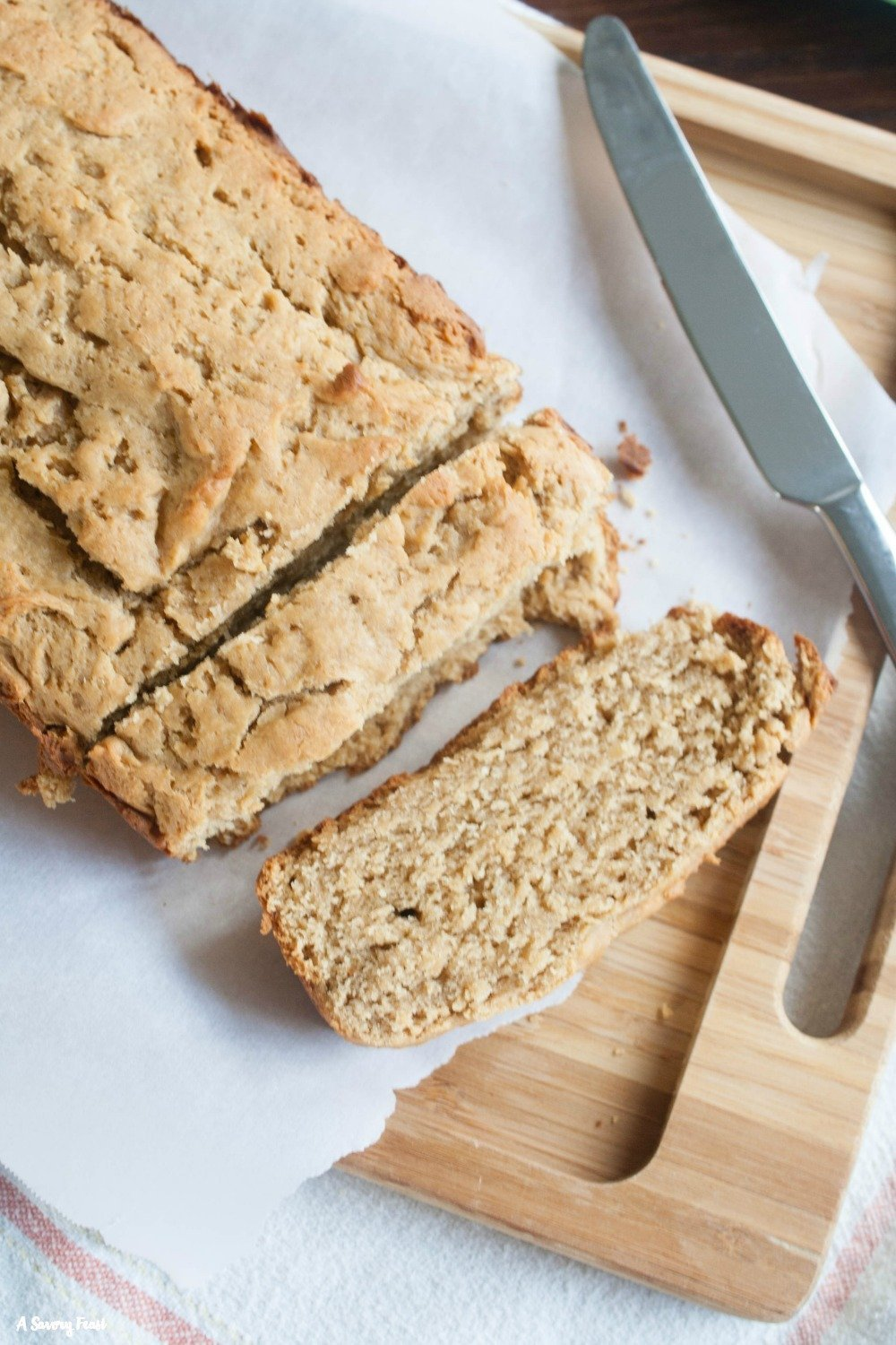 This One Bowl No Sugar Peanut Butter Bread is perfect for breakfast!
